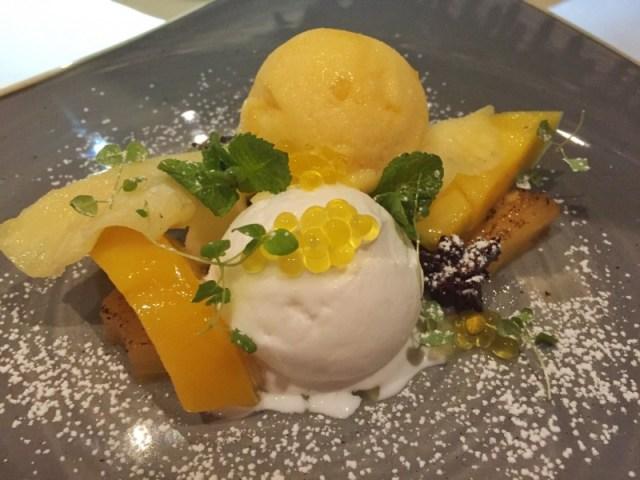 Iced mango dessert at Waters Restaurant