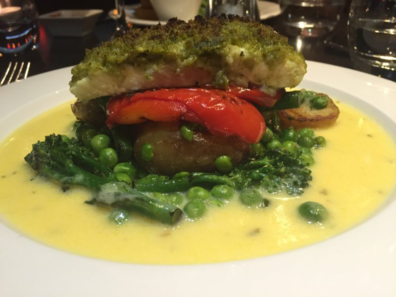Pesto crusted halibut at Grosvenor Casino, Birmingham