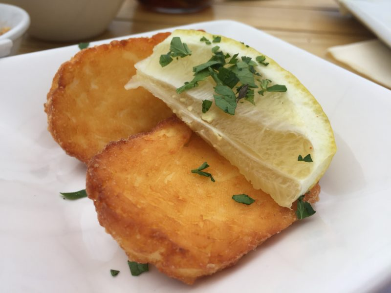 Deep-fried halloumi at The Boathouse, Upton-upon-Severn