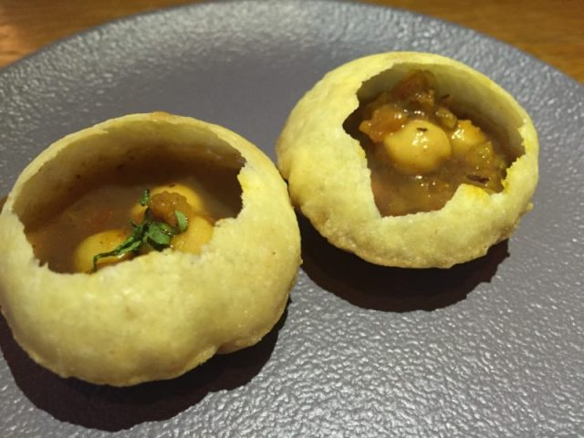 Amuse bouche of pani puri at Lasan, Birmingham