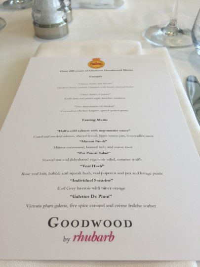 Tasting menu at Goodwood