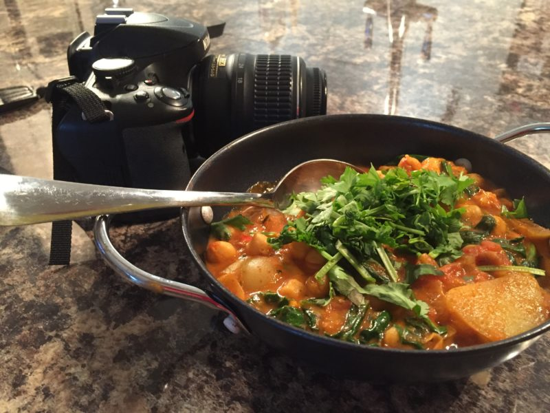 Homemade chickpea & spinach curry