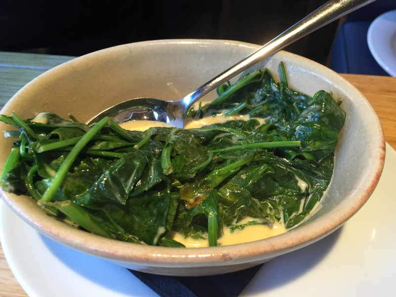Creamed spinach at the Glass Boat, Bristol