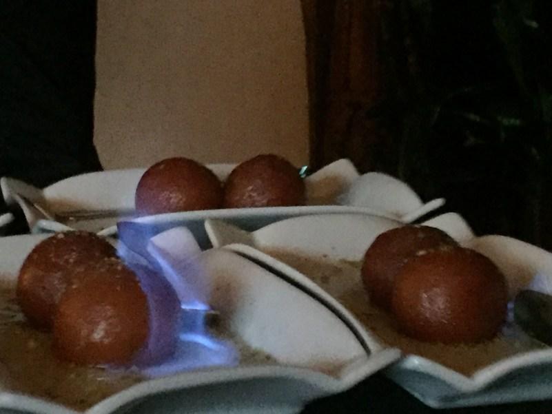 Sambuca-flamed Gulab Jamun at Itihaas, Birmingham