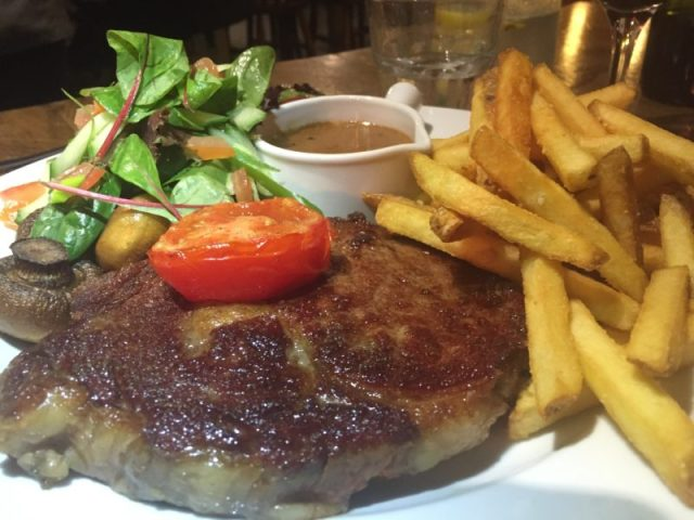 Ribeye steak at the Hollybush Inn, Priors Marston