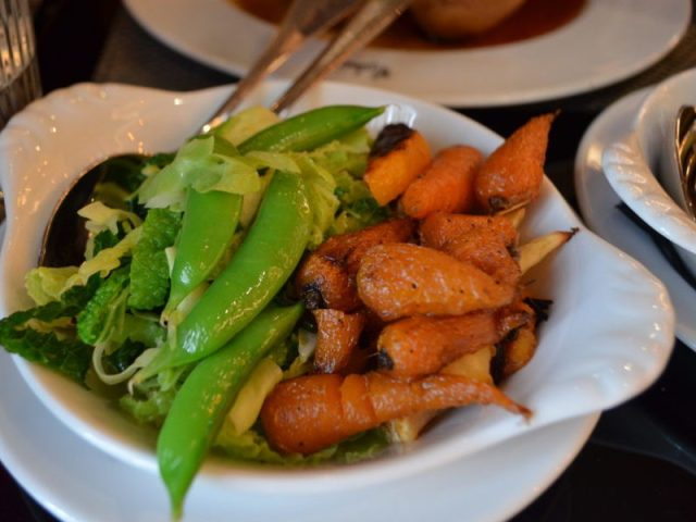 Vegetables with Sunday lunch at Malmaison, Birmingham