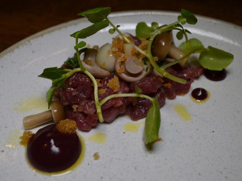 Tartar of Cornish Lamb at The Cross, Kenilworths Mushroom Evening