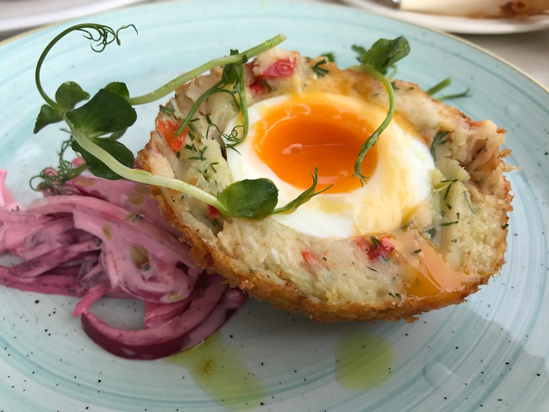 Crab scotch egg at the Noisy Lobster, Mudeford, Dorset