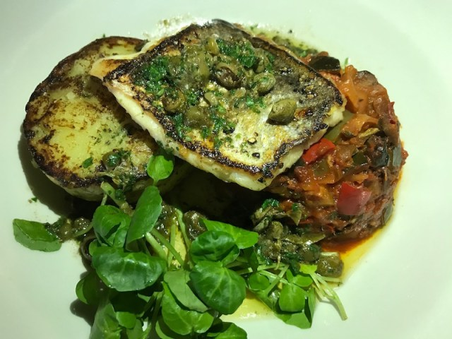 Pan roasted hake at The Peacock, Oxhill