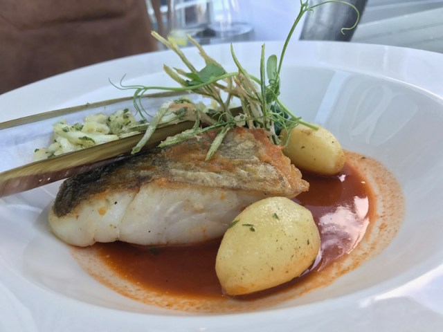 Pan roasted pollock at the South Sands Hotel, Salcombe