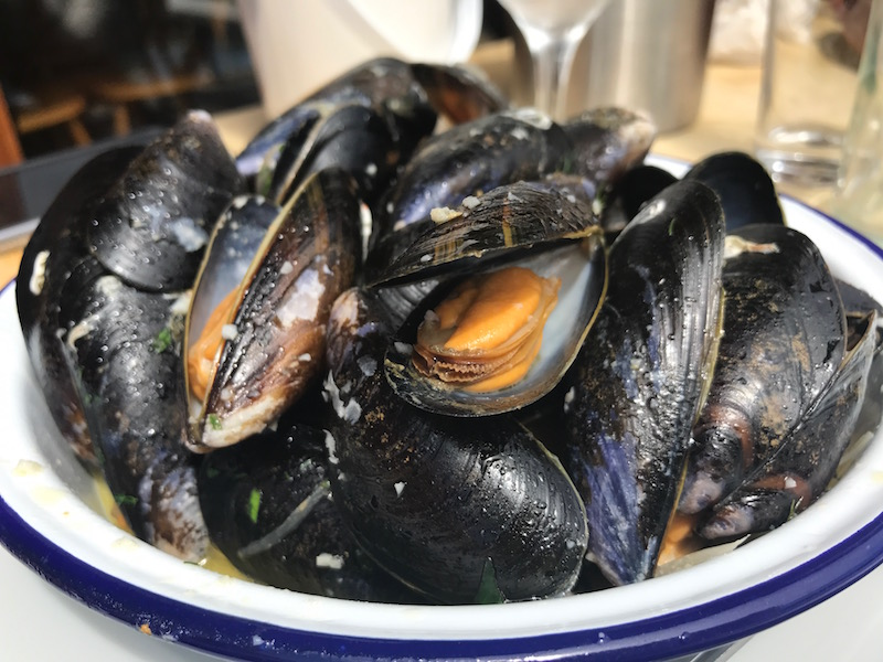 Moules Mariniere at The Crab Shed, Salcombe