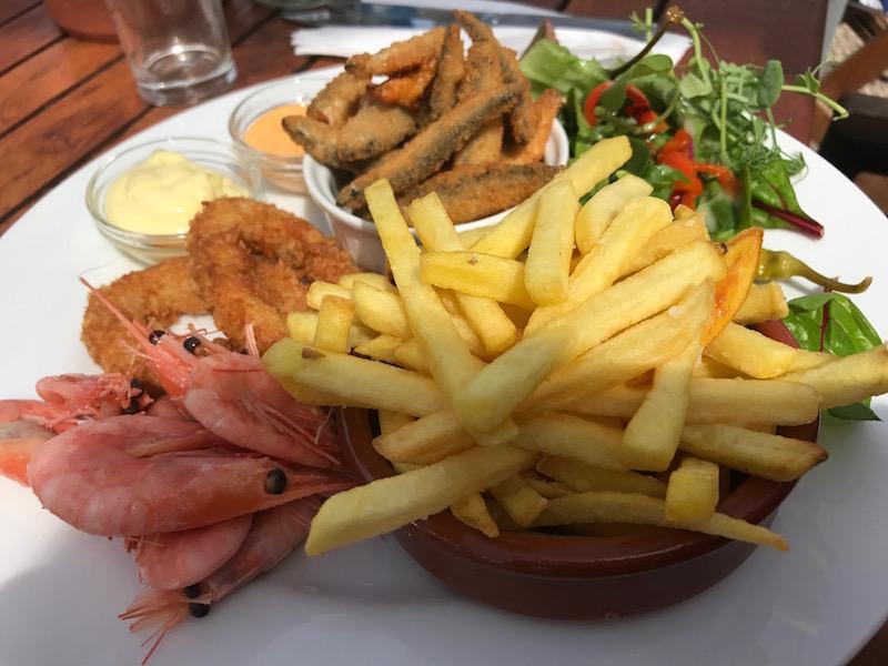 Seafood main course at Vineyard Kitchen, Sharpham Estate, Devon