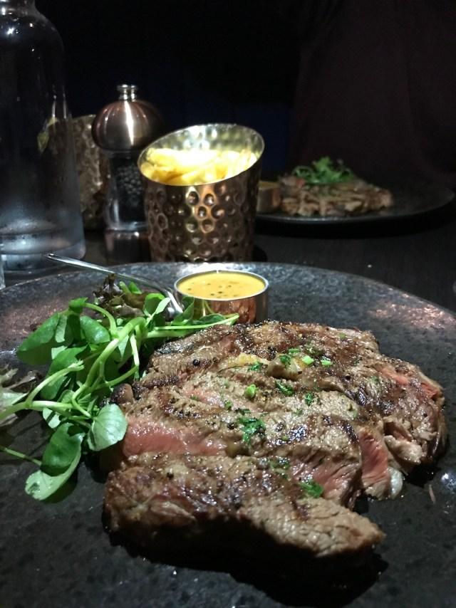 Ribeye steak at Black Iron, Winstanley House, Leicester