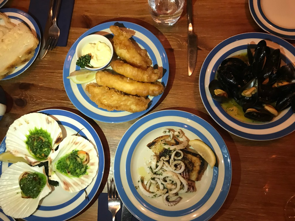 Starters at the scallop Shell, Bath
