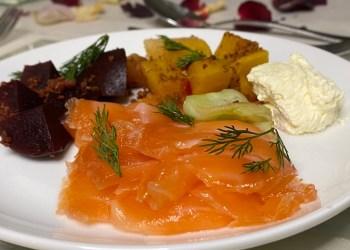 Salmon starter on plate