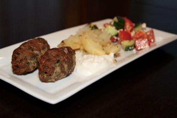 Serve with Greek salad, roasted potatoes and tzatziki