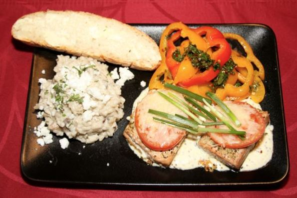 Mushroom Risotto and Roasted Tomato Salmon and Peppers