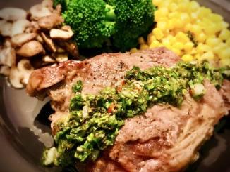 Chimichurri Sauce on Ribeye Steak