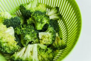 Broccoli in strainer