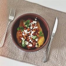 Harissa Chickpea Stuffed Sweet Potatoes