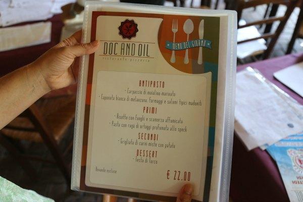 Castelbuono menu