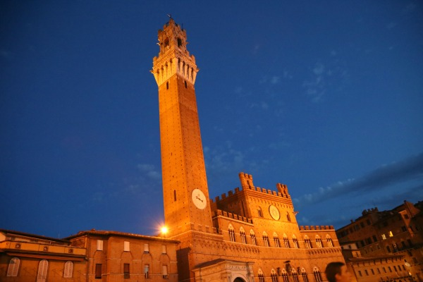 Siena tower at twilight