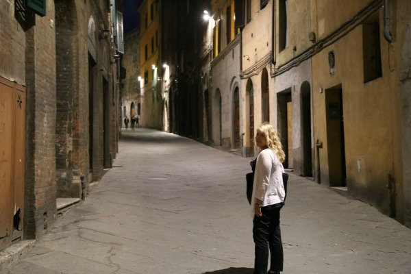 Siena walk at night