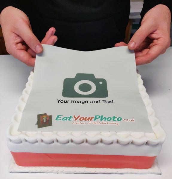 applying an edible photo