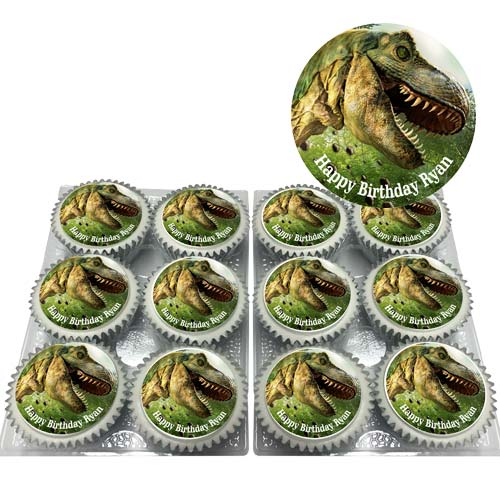 Dinosaur Head Cupcakes with Message