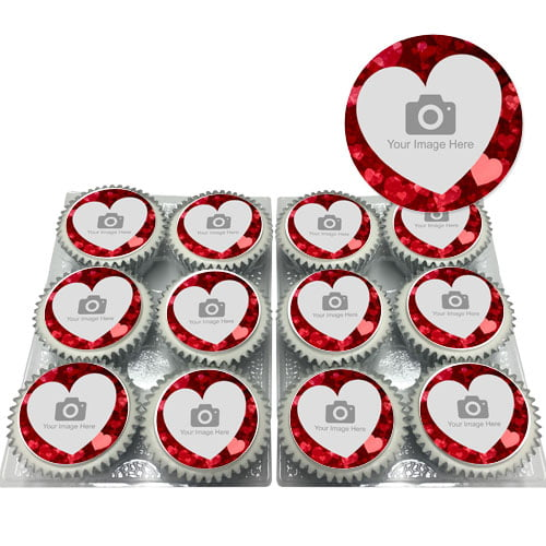 Love Heart Photo Cupcakes
