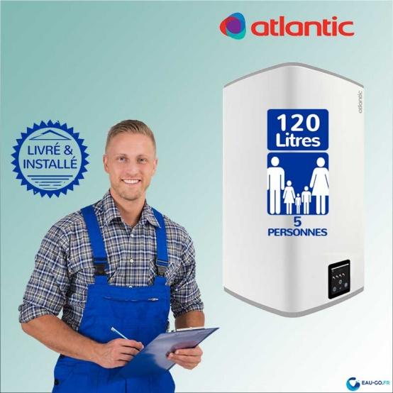 chauffe eau electrique 120l atlantic lineo 2 vertical mural livre installe a domicile