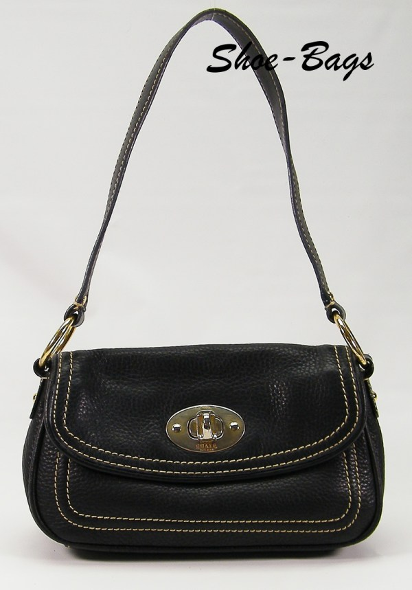 Small Chaps Black Leather Flap Turnlock Hobo Purse Demi Bag Handbag