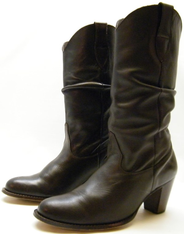 Womens Nine West Marmaladx Brown Leather Slouch Cowboy Western Boots Sz 9 9m