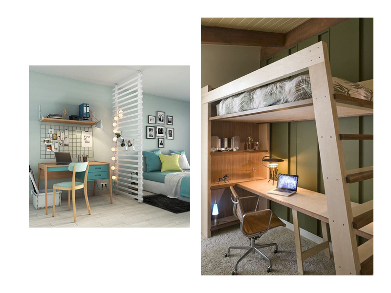 un bureau dans un petit espace