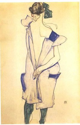 "Schiele ""Standing Girl with Blue Dress and Green Stockings"""