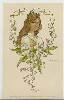 Art Nouveau postcard of woman & lily of the valley