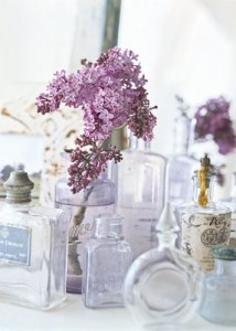 lilac and perfume bottles