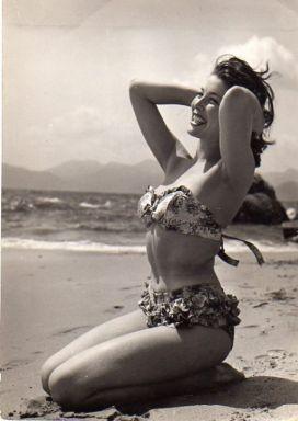 Lise Bourdin on the beach