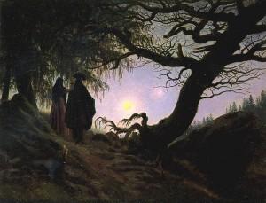 "Caspar David Friedrich ""Man and Woman Contemplating the Moon"""