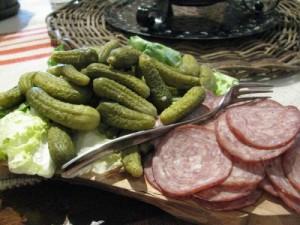 cornichons and salami