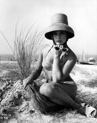 Elke Sommer on the beach