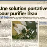 Nice-Matin 6 October 2011 Une solution portative pour purifier l'eau