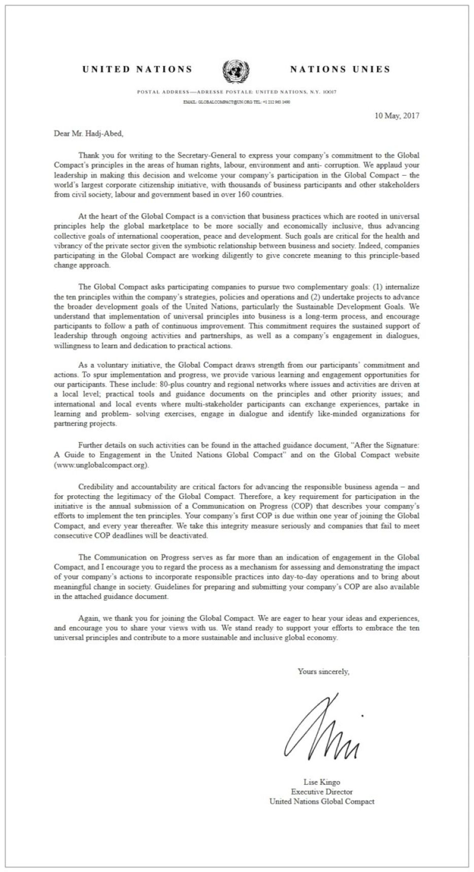 Adherence to Global Compact principles of the UN - Eaunergie