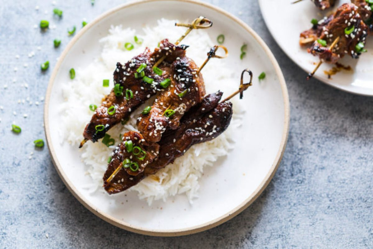 Beef Yakitori, a flavorful strip of beef cooked quickly for maximum flavor