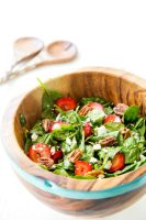 Strawberry Pecan Spinach Salad with a balsamic vinaigrette