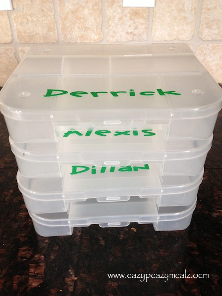 labeled snack boxes