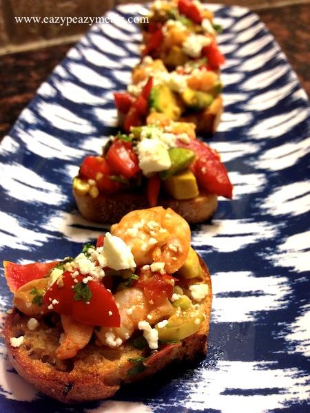 crusty shrimp avoccado bruschetta