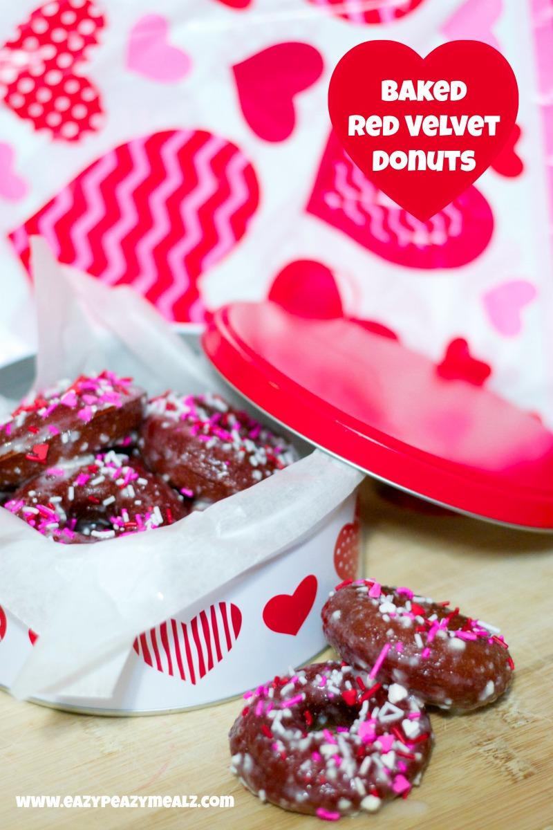 baked red velvet donuts #vday