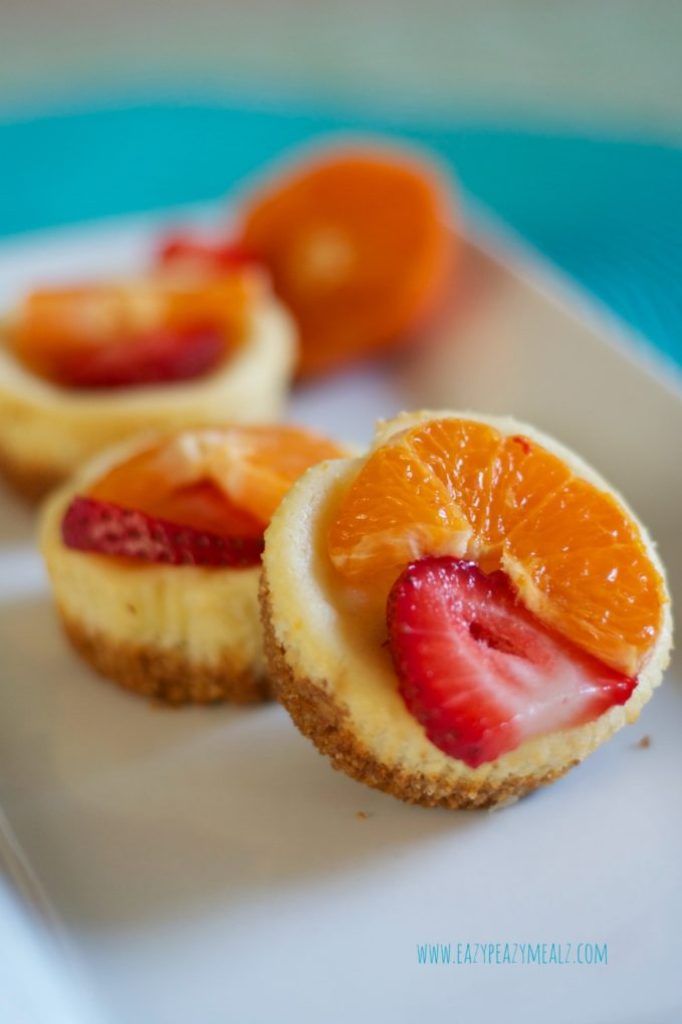 citrus berry mini cheesecakes