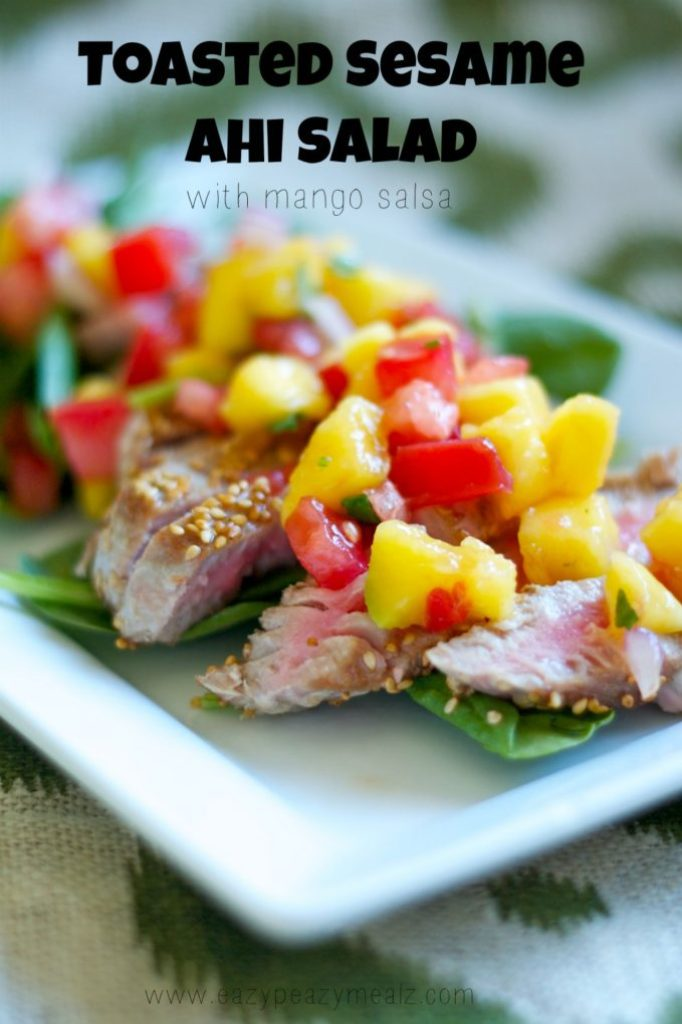 toasted sesame ahi salad with mango salsa
